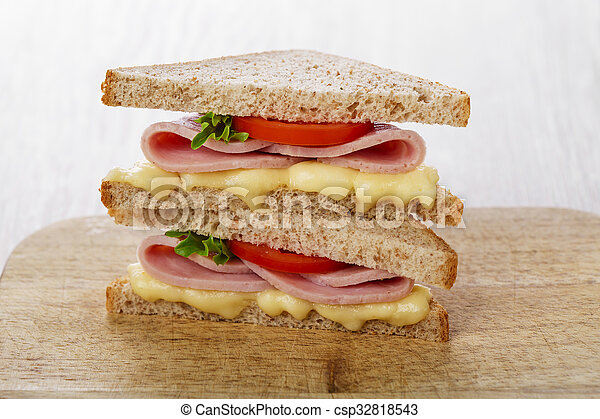 toast sandwich with ham cheese and - csp32818543
