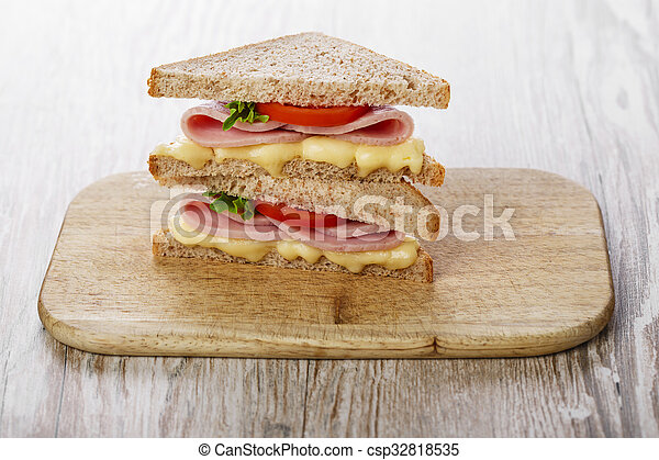 toast sandwich with ham cheese and - csp32818535