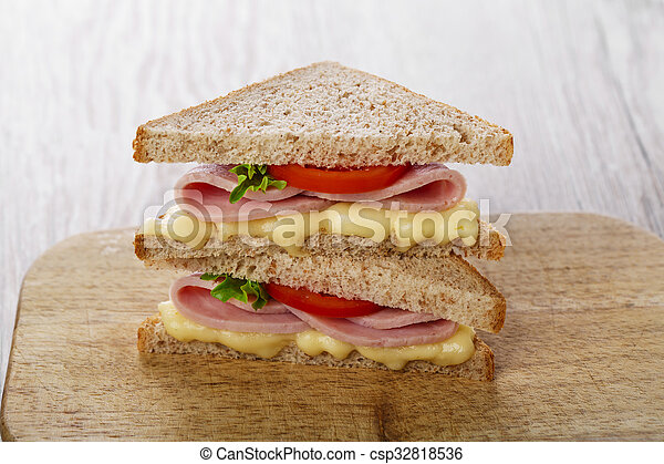 toast sandwich with ham cheese and - csp32818536