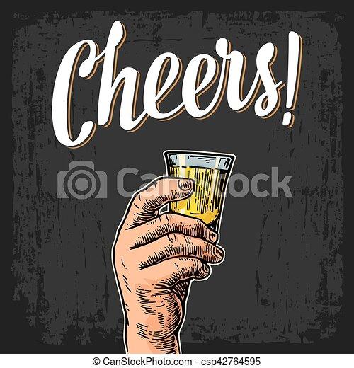 toast, tequila., main, bonne disposition, verre, tenue, mâle, lettering. - csp42764595