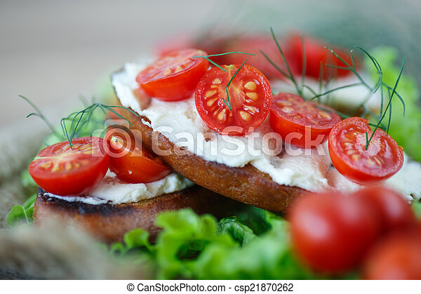 toast with cheese and cherry tomatoes - csp21870262
