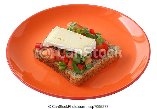 Toast with cheese camembert - csp7095277