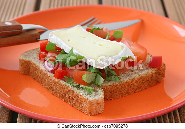 Toast with cheese camembert - csp7095278