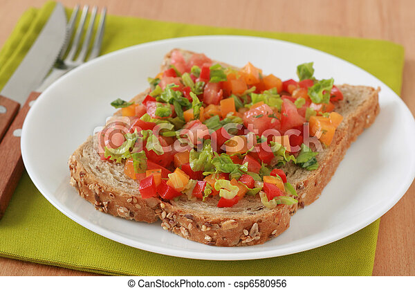 toast with cut vegetables - csp6580956