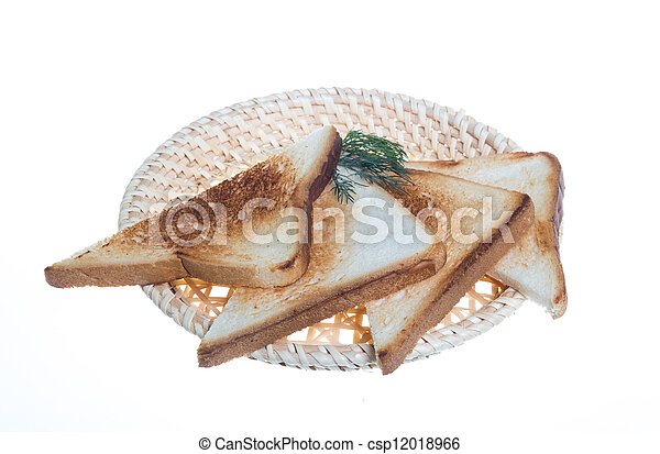 toasted bread slices for breakfast isolated on white studio background. - csp12018966