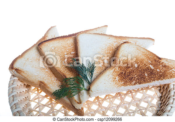 toasted bread slices for breakfast isolated on white studio background. - csp12099266
