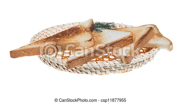 toasted bread slices for breakfast isolated on white studio background. - csp11877955