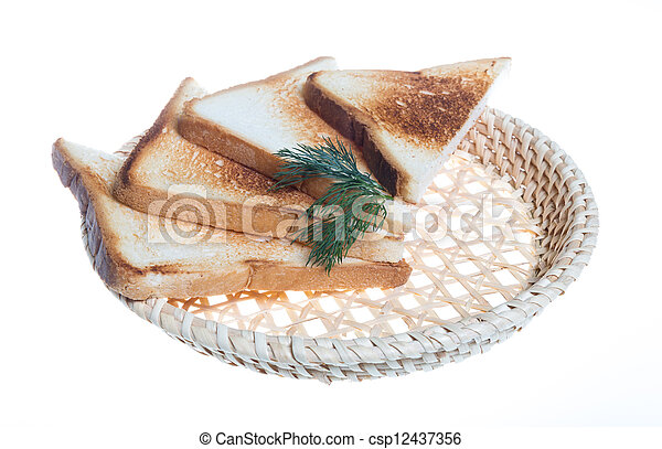 toasted bread slices for breakfast isolated on white studio background. - csp12437356