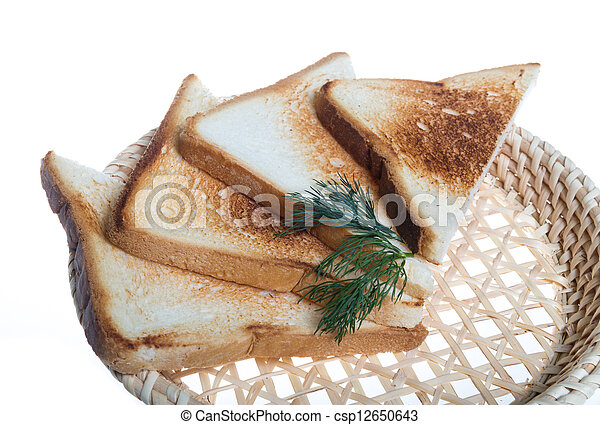 toasted bread slices for breakfast isolated on white studio back - csp12650643