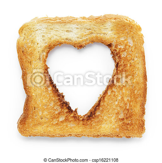 toasted slice of white bread with hole heart shape - csp16221108
