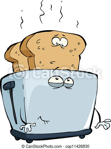 Close Up Electronic Toaster With Toasted Bread Royalty Free Cliparts,  Vectors, And Stock Illustration. Image 38707521.