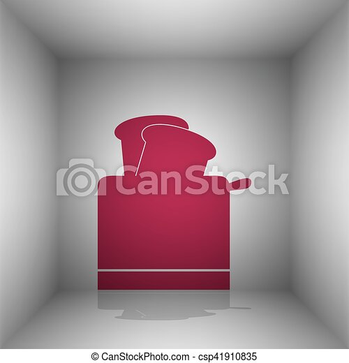 Toaster simple sign. Bordo icon with shadow in the room. - csp41910835