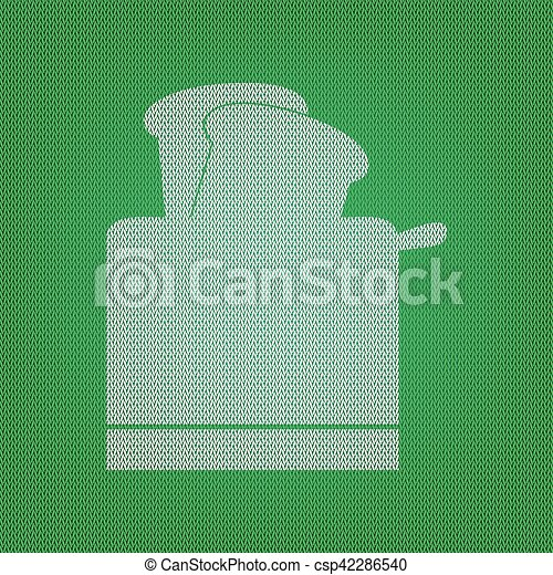Toaster simple sign. white icon on the green knitwear or woolen cloth texture. - csp42286540