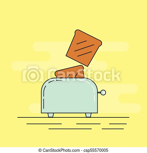 Toaster Throwing out Bread in the Morning Flat Thin Line Art - csp55570005
