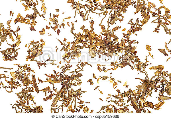 Tobacco isolated on white background, top view. - csp65159688