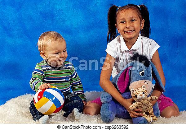 tocando, crianças, brinquedos - csp6263592