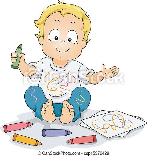 Toddler Boy Drawing Doodles with Crayons - csp15372429