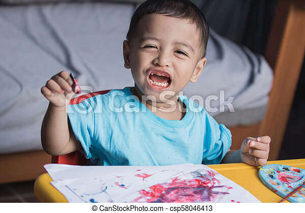 toddler drawing and painting - csp58046413