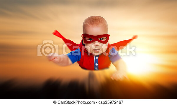 Toddler little baby superman superhero with a red cape flying toddler little baby superman superhero with a red cape flying through sky csp35972467 publicscrutiny Gallery