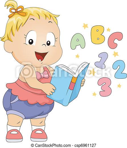 toddler, livro - csp6961127