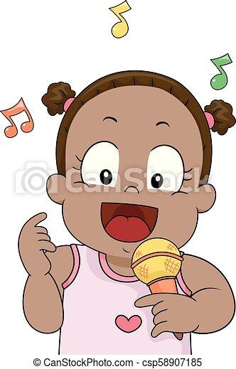 Toddler Sing Mic Illustration