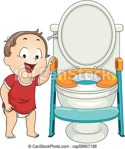 62db8bb14 Toddler toilet training seat illustration. Illustration of a kid boy ...