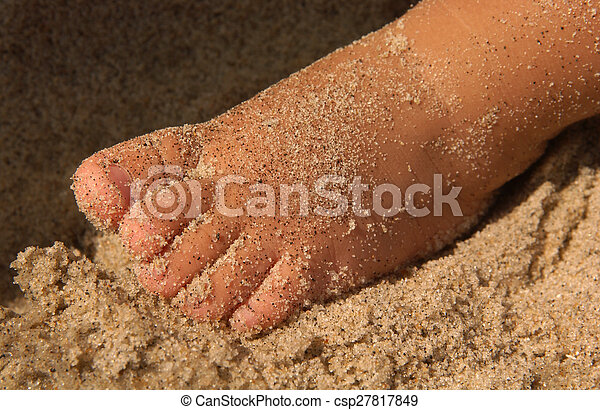 Toddler's Sandy Foot on Beach - csp27817849