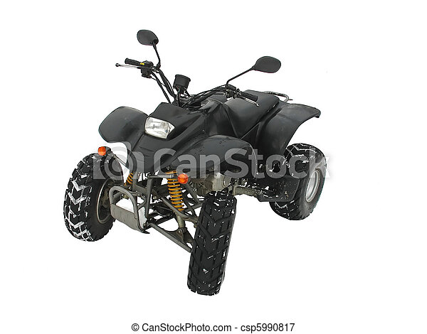 ATV negro todo terreno vehículo en nieve blanca - csp5990817