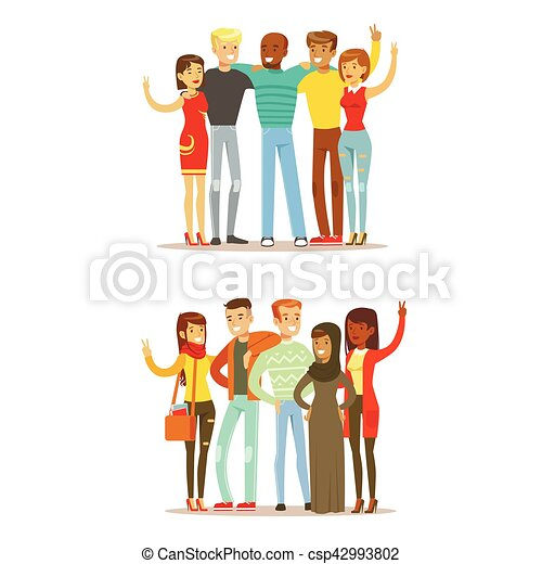 Jóvenes amigos de todo el mundo y feliz vector internacional de amistad ilustración de dibujos animados - csp42993802