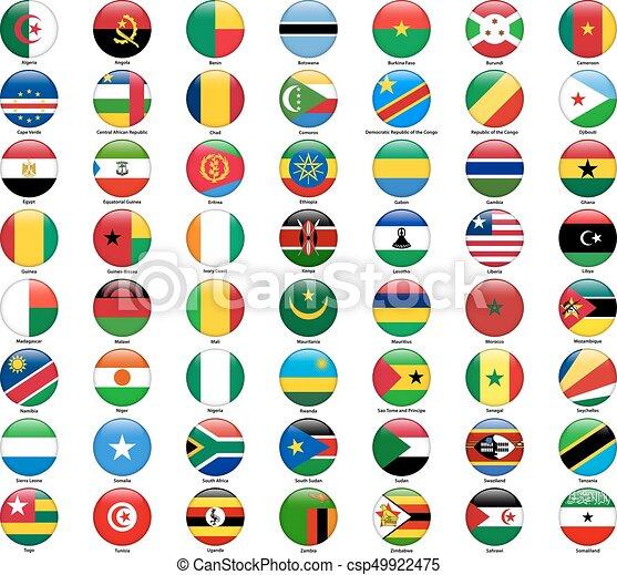 todos, conjunto, estilo, countries., banderas, brillante, africano, redondo - csp49922475