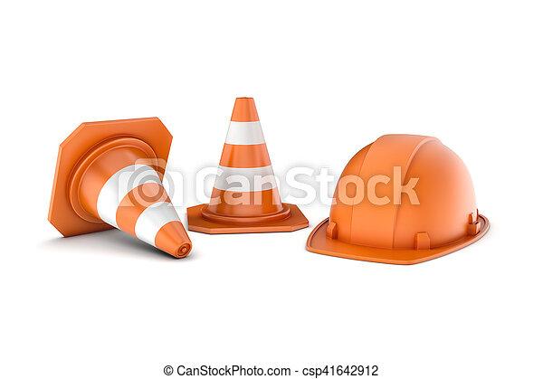 Rendimiento de dos conos de carretera rayados y casco, todos aislados en fondo blanco. - csp41642912