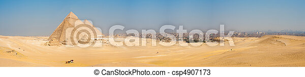 todos, el cairo, pirámides, giza, panorama, cityscape - csp4907173