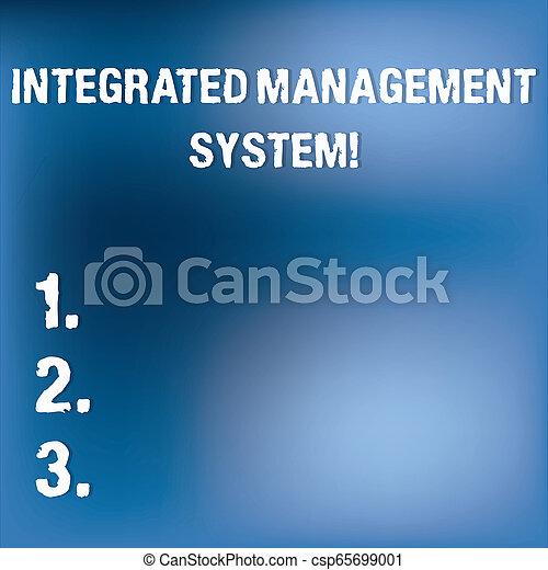 Señal de texto que muestra sistema de gestión integrado. La foto conceptual combina todos los componentes de un negocio en una luz borrosa parpadeando en un espacio nebuloso azul para el papel de póster. - csp65699001