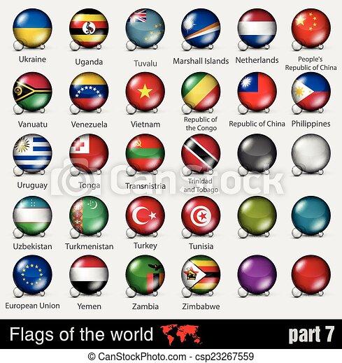 Banderas de todos los países en el 3D - csp23267559