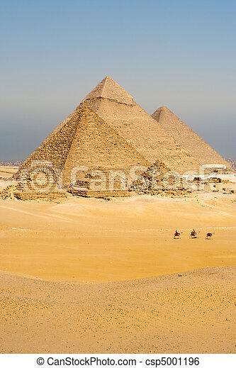 todos, vertical, caminata, camellos, pirámides, línea - csp5001196