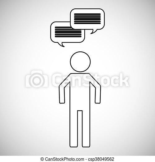 toespraak, mensen, bel, pictogram - csp38049562