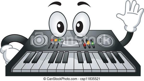 toetsenbord, elektronisch, mascotte - csp11835521