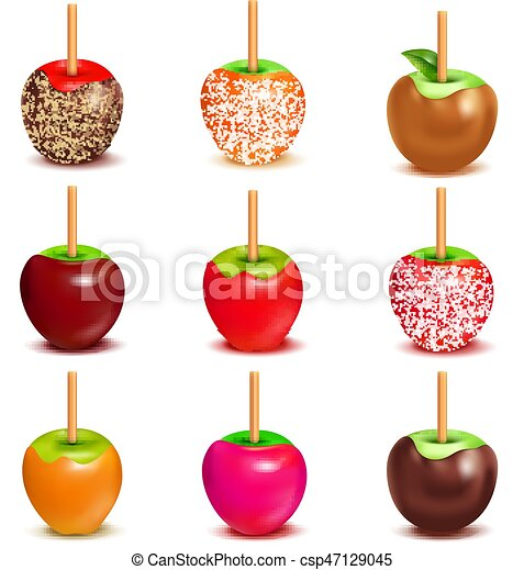 Toffee Candy Apples Assortment Set Whole Candy Apples Covered In Hard Toffee Caramel Sugar Or Chocolate Coating With Stick Canstock