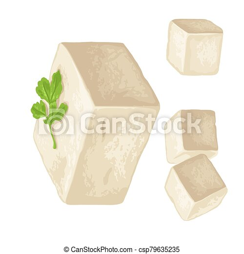 Tofu. Vector color flat illustration isolated on white background. - csp79635235