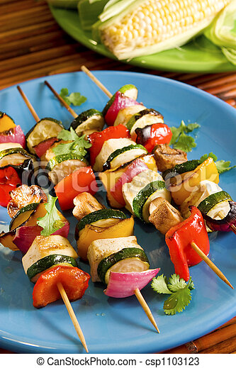 Tofu vegetable skewers - csp1103123