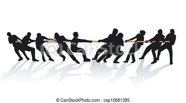 together on the rope pull