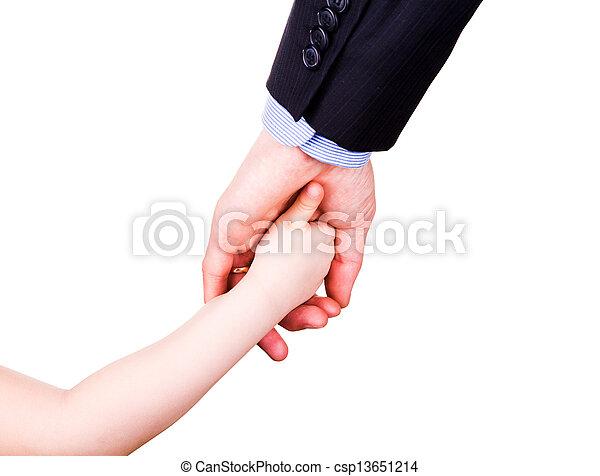 togethterness, 父, 手。, サポート, 信頼, 子を抱く, concept. - csp13651214