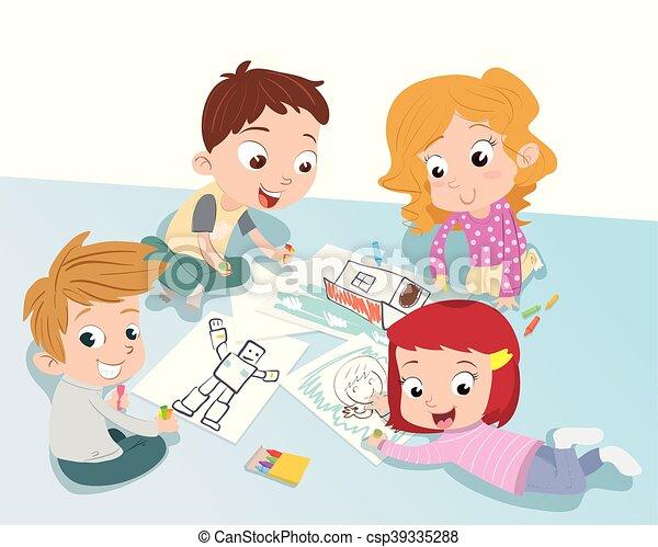 Togetther Lapis Grupo Coloridos Criancas Desenho Lapis