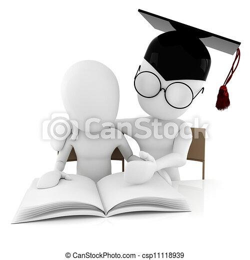 toghether, studerend , student, 3d, leraar, man - csp11118939