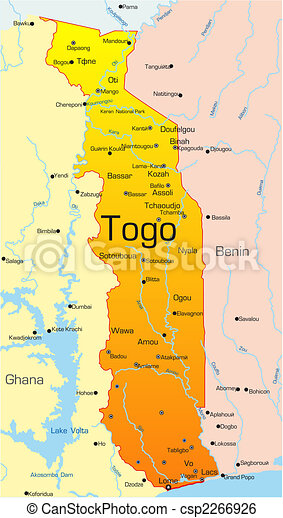Abstract vector color map of togo country.
