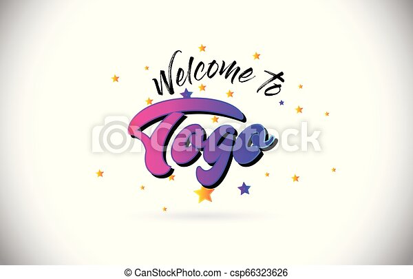 Togo Welcome To Word Text with Purple Pink Handwritten Font and Yellow Stars Shape Design Vector. - csp66323626