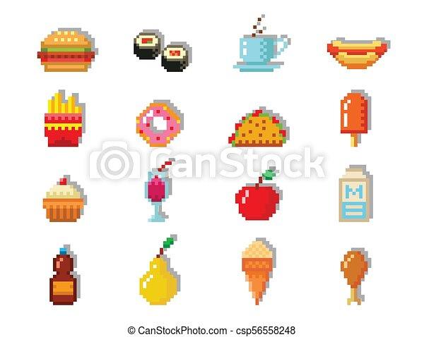 Toile Art Icônes Nourriture Graphic Restaurant Jeûne élément Retro Jeu Vecteur Conception Illustration Informatique Pixel Pixelated