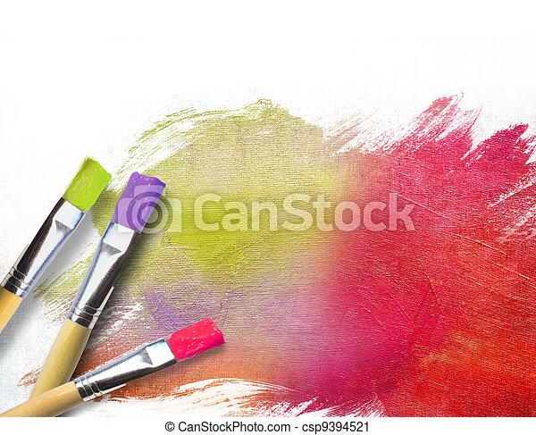 toile, artiste, peint, brosses, fini, moitié - csp9394521