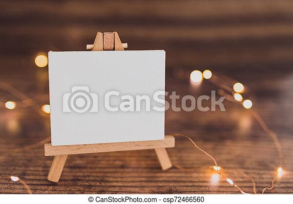 toile, copyspace, miniature, bois, entouré, lumières, bureau noir, fée - csp72466560