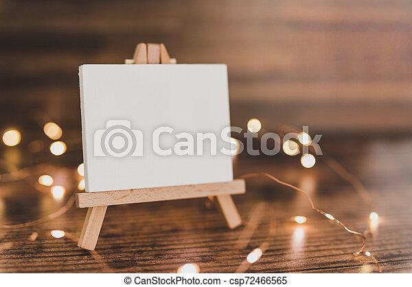 toile, copyspace, miniature, bois, entouré, lumières, bureau noir, fée - csp72466565